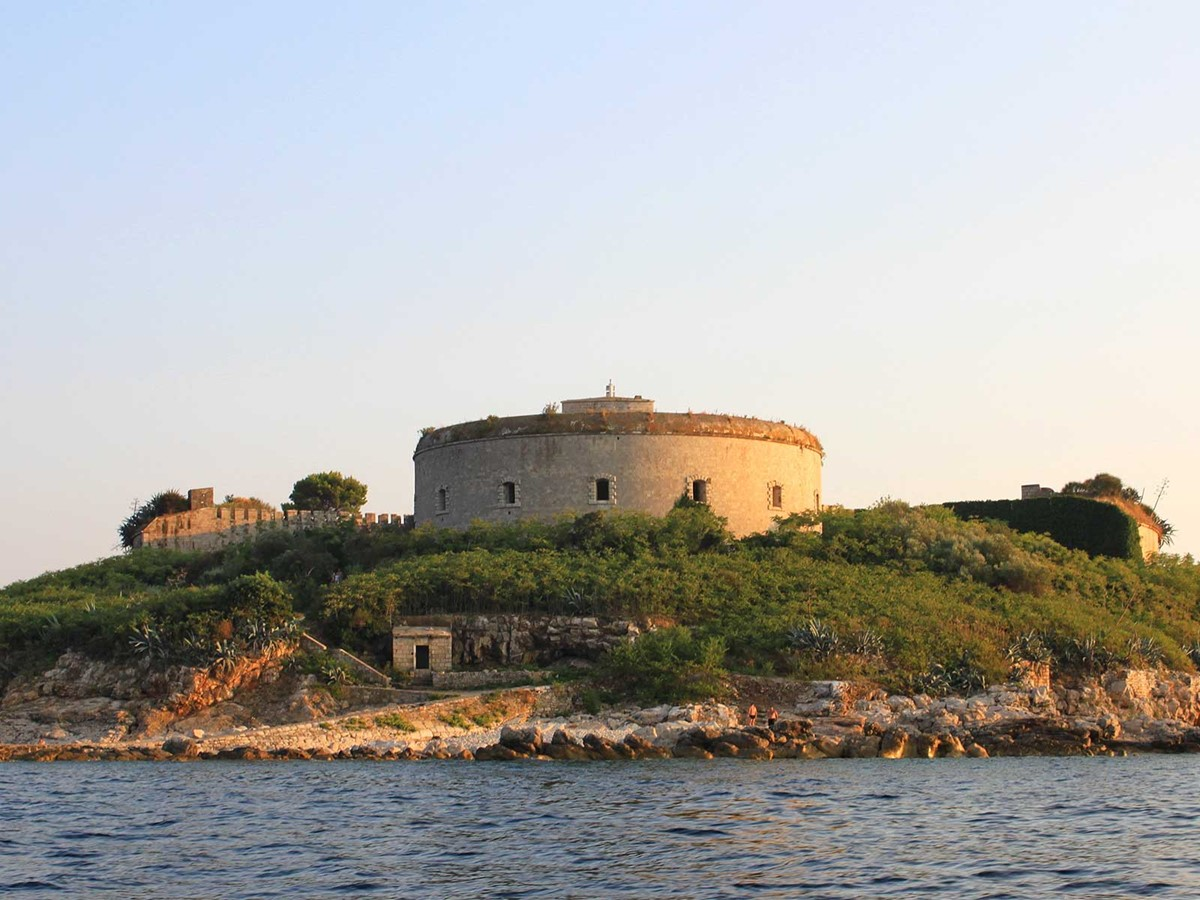 View of Island Mamula, from yacht